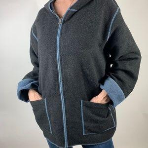 CAbi Gray Wool Blend Zip Up Hoodie M